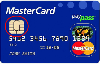emv card with chip highlighted